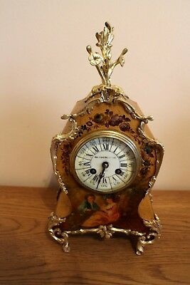 VICTORIAN FRENCH MOVEMENT MANTAL CLOCK 8 DAY PAINTED   Sir John Bennett ltd