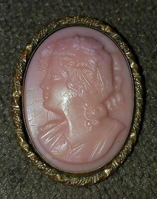 Vintage / Antique Pink Glass Molded Cameo Brooch Braided Frame Gorgeous