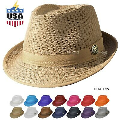 84e82fbb4a1f6 Light Weight Mesh Fedora hat Soft Cool Summer Classic Trilby Cuban Beach  Sun Cap