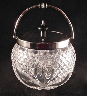 Fine Edwardian English Brilliant Cut Glass Biscuit Jar, Small Size, Silver Mount