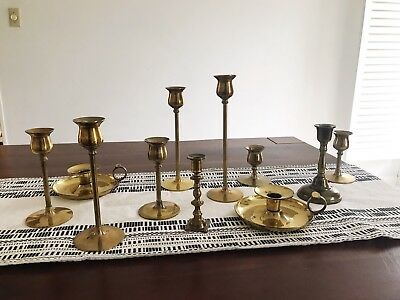 Large Lot Of Vintage Mixed Metal Brass Candlesticks Mid Century