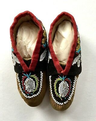 Pair Of Lovely Native American Beaded Hide And Velvet Moccasins For A Child