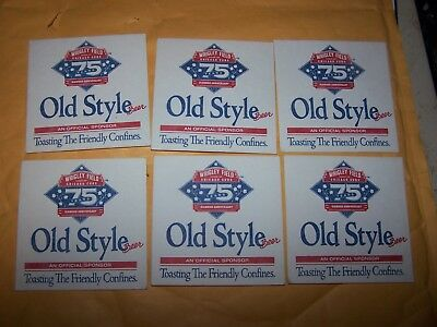 Six Old Style Chicago Cubs Wrigley Field 75Th Anniversary Beer Coasters
