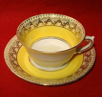 Vintage Royal Devon Yellow Cream & Gold Cup & Saucer Set