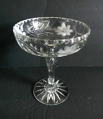 Crystal compote with scalloped rim and etched floral designs
