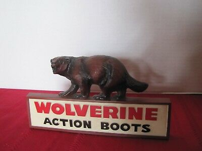 Wolverine Action Boots Store Counter Advertising Sign Hunting Fishing