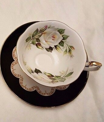 Queen's Ebony Black Gold Pedestal White Cabbage Rose wide mouth Tea Cup & Saucer