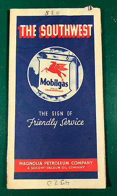 1939 Mobilgas Southwestern US Road Map Socony Vacuum Company Gas Oil