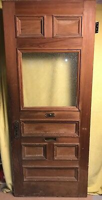 Antique Craftsman Exterior Wood French Entry Door /w Glass 34x82 /w Hardware