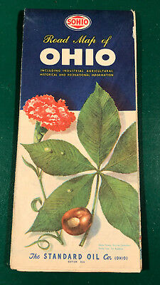 Vintage 1952 Sohio Standard Oil Ohio Road Map Gas 32A Edition