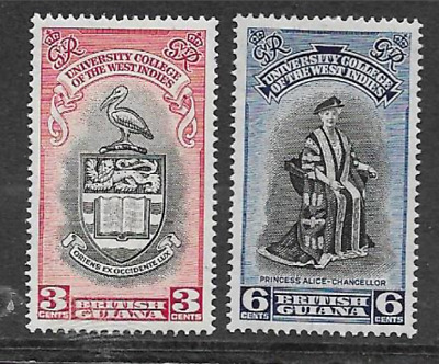 British Guiana - Kgv1 Era Mint Commemorative Stamp Set 1951 Opening University