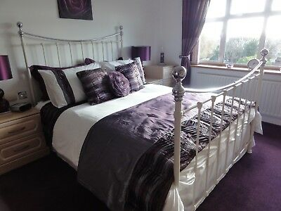 M&s King Size Metal Bed Frame / Surround - Ivory & Chrome
