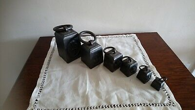 Set of 6 antique Post Office 7lb Cast Iron ring weights