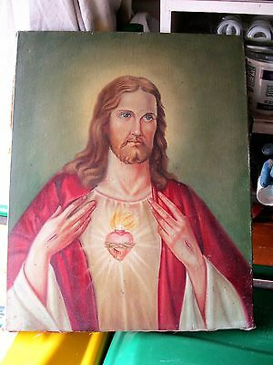 Antique Original Oil Painting On Canvas Of The Sacred Heart Ofjesus