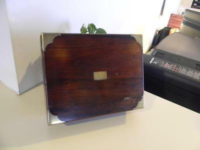 Antique Wood and Brass Portable Sloped Lap Writing Desk Secretary