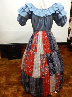 2 Piece Blue And Patchwork Square Dance Prairie Dress