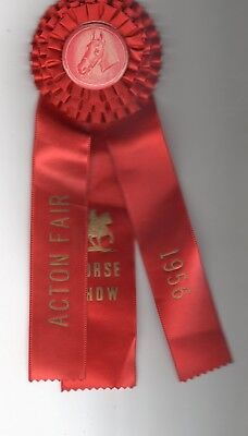 Vintage 1956 ACTON Fair Horse Show Red Ribbon