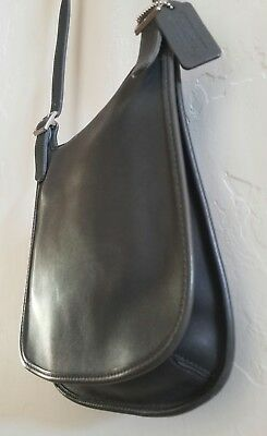 """Vintage """"Coach"""" Black Leather Cross-Body Handbag Excellent Condition Never Used!"""