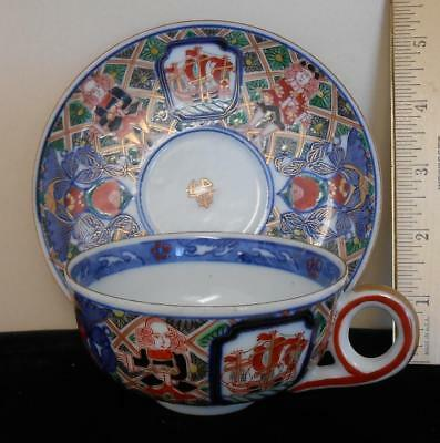 Antique Imari Porcelain Cup & Saucer Black Ships Dutch Merchants Pattern