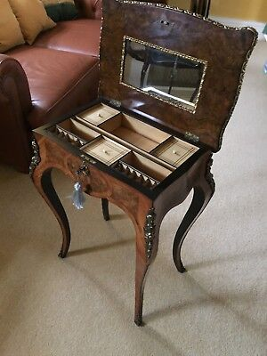 A Fine English Victorian French style Walnut  work table
