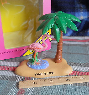 "Pink Flamingo w palm tree   on ""THAT'S LIFE"" ISLAND- BULLY COMICLAND - cake top"