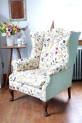 Vintage 1960s 1970s Wing Arm Chair Embroidered Crewel Upholstery Floral Old Seat