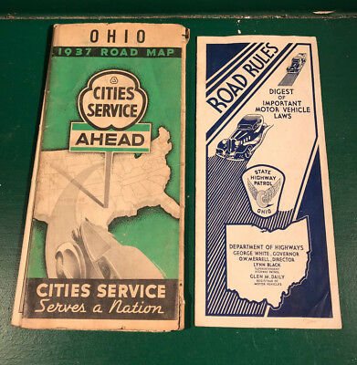 Vintage 1937 Cities Service Ohio Road Map and Ohio Road Rule Pamphlet