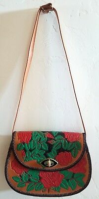 Vintage Leather Western Handbag with Hand-Tooled Flowers and Leather Hand-Lacing