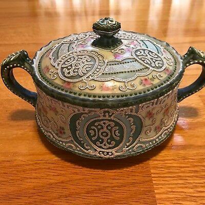 Antique vintage Nippon moriage style sugar-bowl with lid - rare