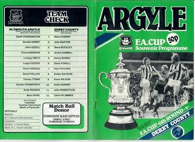 Plymouth Argyle v Derby County (FA Cup R6) - 10/03/1984