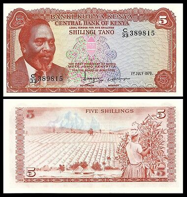 KENYA 5 SHILLINGS 1978 P 15 UNC Coffee Harvest