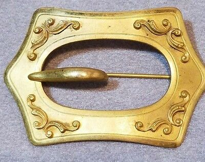 VINTAGE VICTORIAN BRASS BUCKLE BROOCH SASH PIN JEWELRY ANTIQUE STYLE 1800s