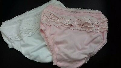 100% Cotton Broderie Anglaise Baby Girls Frilly Pants/Knickers 0-3 months