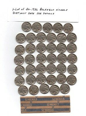 1- Roll Of  Forty1936 Buffalo Nickels 5¢ Circulated,Full Date VG See Details