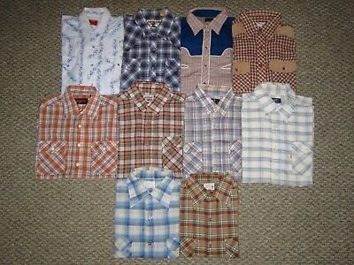 MENS VINTAGE 70s LOT OF 10 PLAID COUNTRY WESTERN PEARL SNAP SHIRTS BIG MAC LEVIS