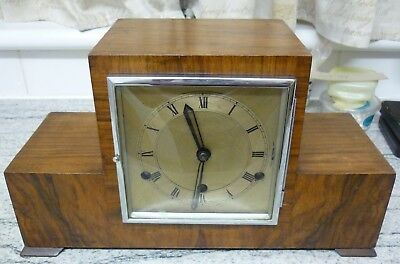 Art Deco 1930's Westminster chiming Mechanical Mantel Clock With Key