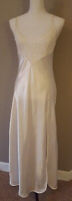 Vtg VICTORIAS SECRET Gold Label Nightgown Satin Lace Ivory Chemise Bridal Small