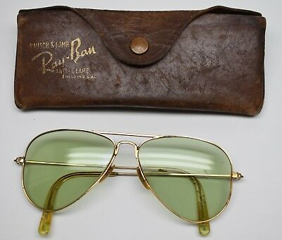 Vintage 1940's Ray-Ban Aviator Sun Glasses B&L Filled Made in USA