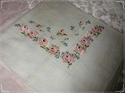 ANTIQUE Swiss Hand Embroidered Handkerchief, Pinks/Blues White Embroidery No. 30