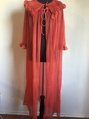 VINTAGE sz M red sheer ruffle tie long sexy 60's robe