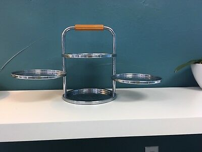 Rare Heavy CHASE CHROME ART DECO 3 tiered tier Bakelite SERVING 4 TRAY 1930s