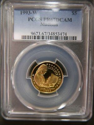 1993-W $5 James Madison Gold Commemorative Coin PCGS PR67DCAM  BELOW MELT!