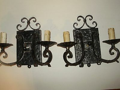 Antique Gothic Spanish Revival-Tudor- Hammered Iron Double Electric Wall Scones