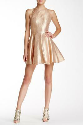 NWT Alice + Olivia Lia Metallic Silk Fit & Flare Gold / Pink Dress 6