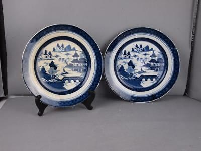 Pair Of Masons Early 19Th Century Plates W/ Chinese Export Painting