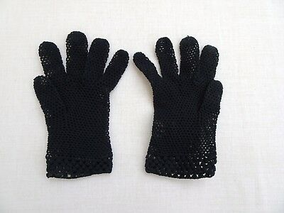 BEAUTIFUL Unusual  Vintage Ladies String Black Fine Gloves  size 6.5 small
