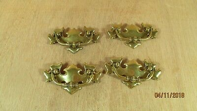 Lot 4 Ornate Vintage Brass Drawer Pulls Chippendale Restoration CP - 1967 Canada