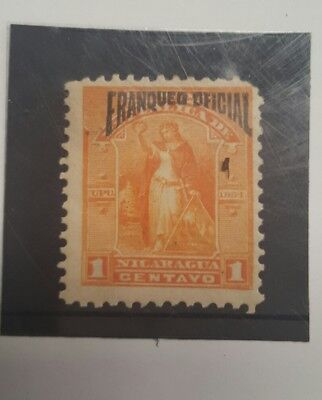 Stamp nicarague 1894  early issue mint hinged 1c official opt -  Lot 31
