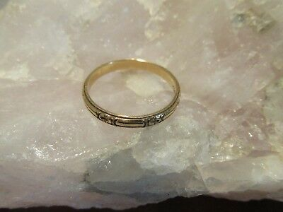 "Antique 14K Art Deco ""White Rose"" Eternity Wedding Band Ring Size 9"
