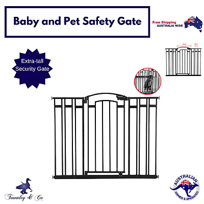 Baby Door Safety Gate Pet Dog Stair Barrier Security Black